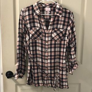 Isabel Maternity Plaid Top Medium